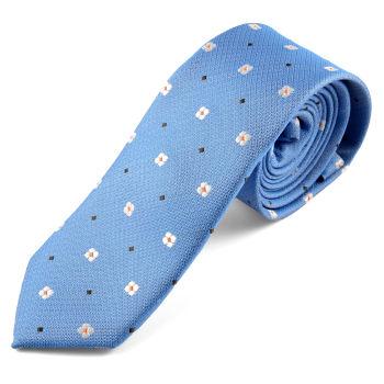Corbata azul con margaritas