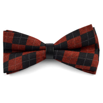 Pajarita de lana roja a cuadros escoceses