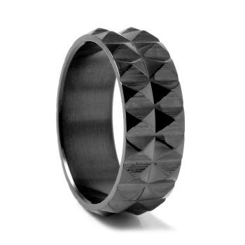 Anello in acciaio nero con spuntoni