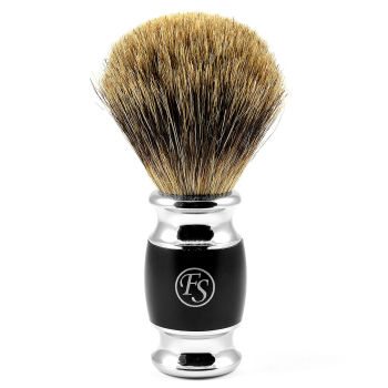 Pincel de Barbear Preto Mate com Pêlo de Texugo Puro