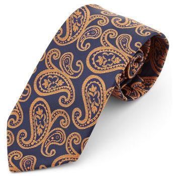 Corbata ancha de poliéster con estampado de cachemira naranja