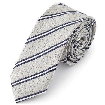 Corbata con estampado texturado en azul y plateado