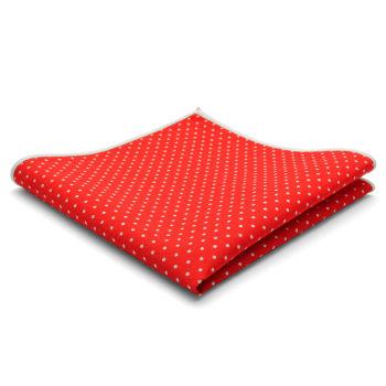 Pañuelo de bolsillo de algodón rojo con lunares
