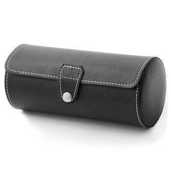 Okrągłe pudełko z czarnej skóry na 3 zegarki