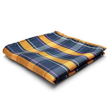 Pañuelo de bolsillo de seda a cuadros naranja y azul marino