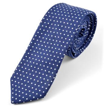 Cravatta di cotone blu scuro a pois