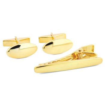 Kort Ovalt 925s-Sæt i Guld
