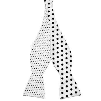 Pajarita para atar reversible de algodón blanca con lunares