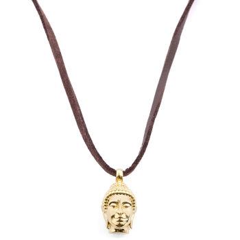 Kožený náhrdelník Buddha v zlatom tóne