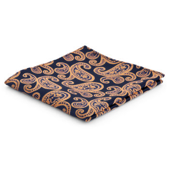 Pañuelo de bolsillo de poliéster con estampado cachemira azul y naranja