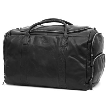 Montreal Large Black Leather Duffel Bag