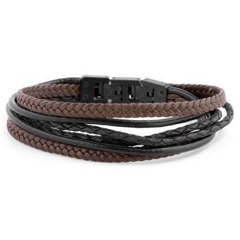 Black & Brown Roy Leather Bracelet