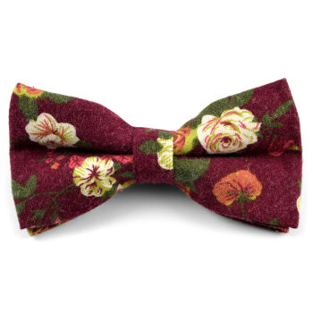 Bordeaux Flower Bow Tie