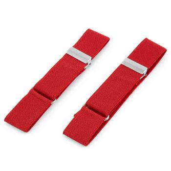Výrazně červené elastické pásky na rukávy