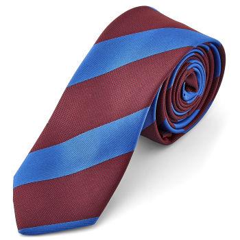 Corbata a rayas azul claro y granate