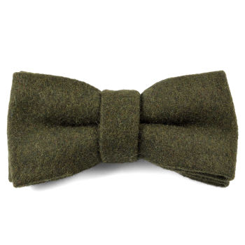 Olive Green Handmade Wool Bow Tie