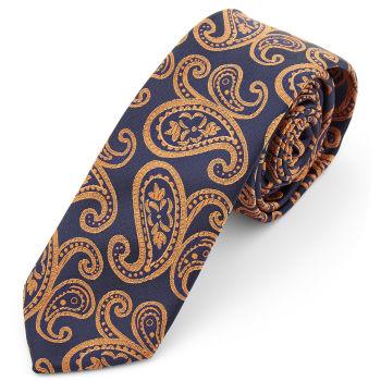Corbata de poliéster con estampado de cachemira naranja