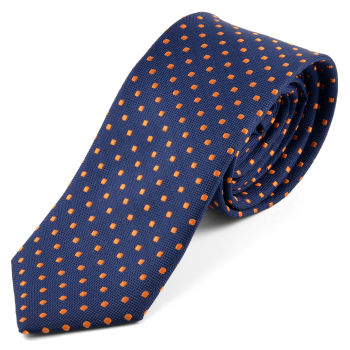 Corbata azul con puntos naranjas