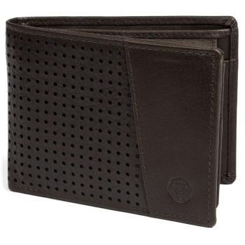 Brązowy skórzany dziurkowany portfel RFID Montreal