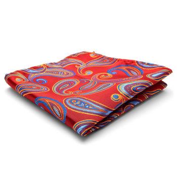 Pañuelo de bolsillo de seda con estampado de cachemir rojo