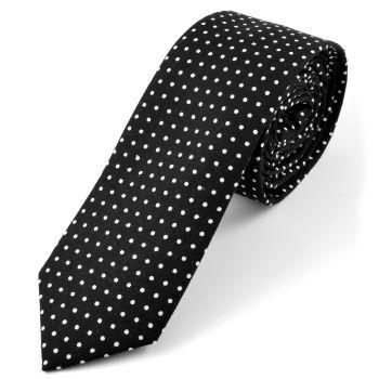Corbata en algodón blanca y negra de lunares