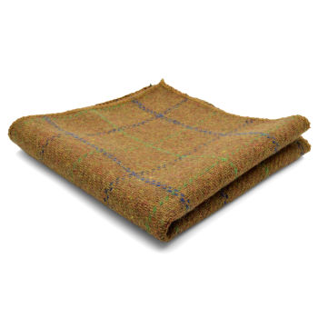 Pochette de costume en laine brune à carreaux,  coutures à la main