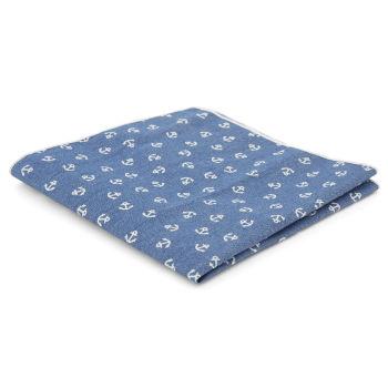 Pañuelo de bolsillo azul con anclas