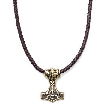 Collana celtica con pendente dorato a due facce e cordino in pelle marrone