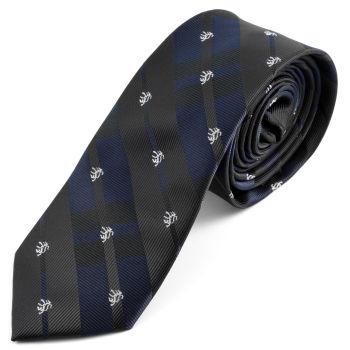 Corbata negra y azul a cuadros