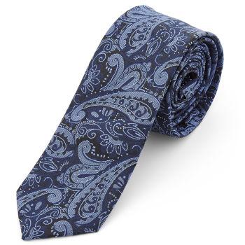 Corbata de poliéster con estampado de cachemira azul