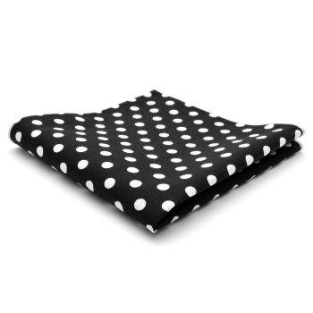 Pañuelo de bolsillo de algodón negro con lunares