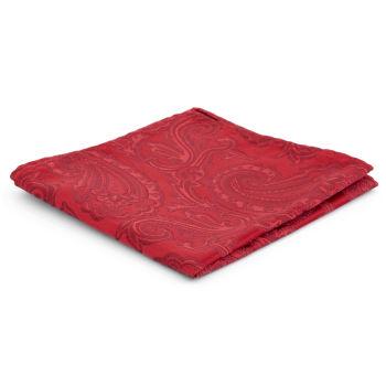 Pañuelo de bolsillo de poliéster rojo con estampado cachemira