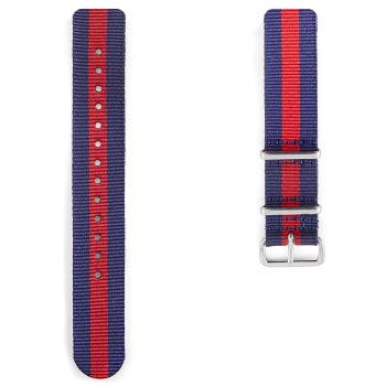 Horlogeband in Marineblauw, Rood & Zilver