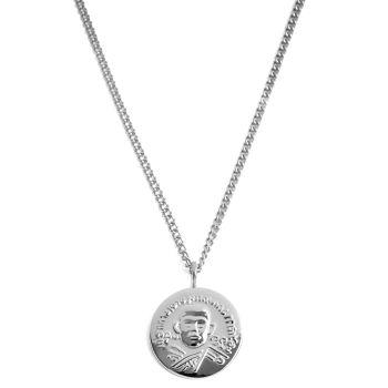 Acél nyaklánc ezüst tónusú hindu medállal