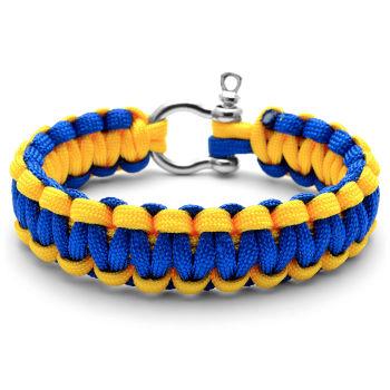 Pulseira em Paracord Azul e Amarela