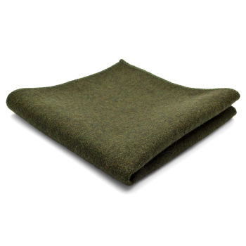 Raw Handmade Olive Green Wool Pocket Square