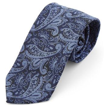 Corbata ancha de poliéster con estampado de cachemira azul