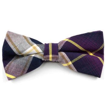 Pajarita de algodón a cuadros escoceses púrpura
