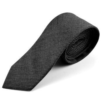 Corbata de lana gris a rayas