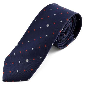 Corbata azul oscuro de lunares y tréboles