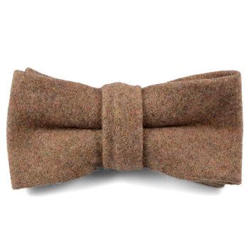 Pajarita de lana hecha a mano marrón claro