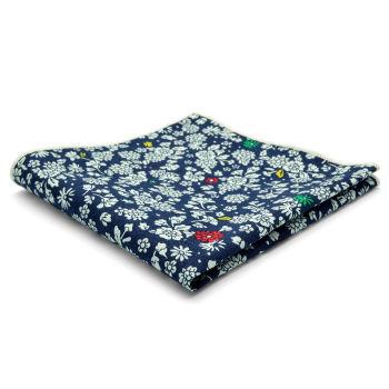 Pañuelo de bolsillo de algodón azul con diseño floral