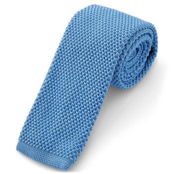 Corbata de punto azul aciano