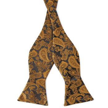 Pajarita para atar con estampado cachemira dorado y marrón