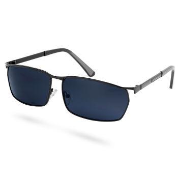 Óculos de Sol Polarizados Fumados Retangulares em Preto