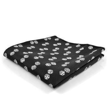 Pañuelo de bolsillo negro con dados