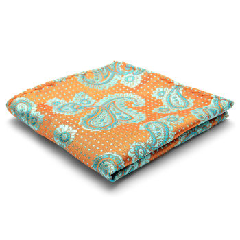 Pañuelo de bolsillo de seda con estampado de cachemir verde azulado