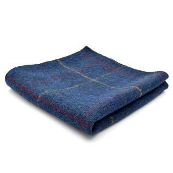 Pañuelo de bolsillo de lana artesanal azul a cuadros