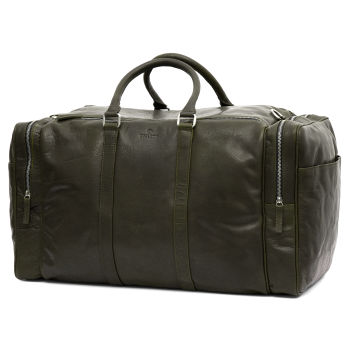 Montreal Large Olive Leather Weekender Bag