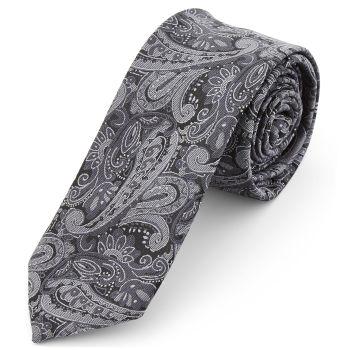 Corbata ancha de poliéster con estampado de cachemira gris